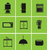 Illustration of kitchen equipment set — Stock Vector