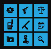 Illustration of police icon set — Stock Vector