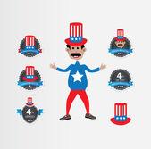 July 4th and Patriotic Symbols — Stock Vector