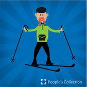Illustration of skiing man — Vector de stock