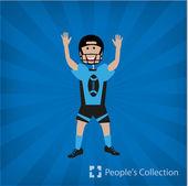 Ilustración del jugador de fútbol americano — Vector de stock