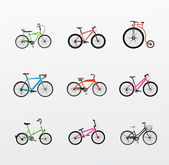 Illustration of bicycles set — Stock Vector