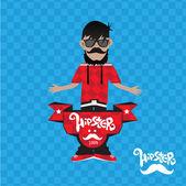 Illustration of Hipster man — Vector de stock