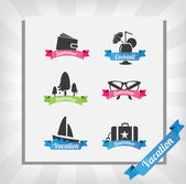 Vacation icon set for summer — Stock Vector