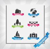 Zestaw na lato wakacje ikon — Wektor stockowy