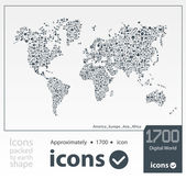 Illustration of icons packed to earth shape — Stock Vector