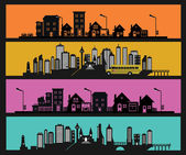 Illustration of black city icons set — Vector de stock