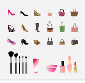 Illustration of Bags shoes additional icon set — Stock Vector