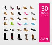 Illustratie van schoenen icons set — Stockvector