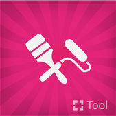 Paint roller and brush — Stockvektor