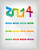2014 wight calendar — Stock Vector