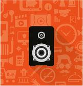 Speaker icon on orange — ストックベクタ