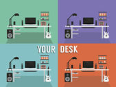 Your desk Color icons — Stock Vector