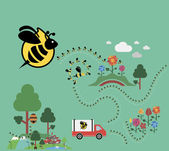 пчелы делают мед — Cтоковый вектор