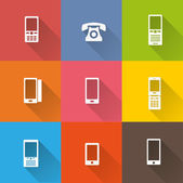 Telephone icons set — Stock Vector