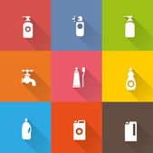 Detergent bottle icon set — Stockvektor