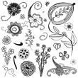 Set of sketchy flowers — Stock Vector