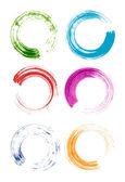 Set of colorful brush stroke circles — Stock Vector