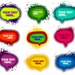 Set of grunge colorful speech bubbles with ink splats — Stock Vector