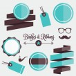 Vector Badges Stickers Labels and Ribbons Set 1 — Stock Vector