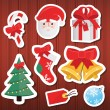 Vector Christmas Paper Icons Set Wooden Background — Stock Vector