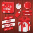 Vector Christmas Sale Set With Labels Badge Ribbons Gift Box and Bag — Stock Vector