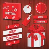 ベクトルのクリスマス セール ラベル バッジ リボン ギフト用の箱と袋セット — Stock vektor