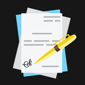 Vector Documents With Pen and Signature Icon — Stock Vector