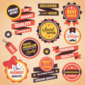 Set of Vector Vintage Badges Stickers Banners and Labels — Vecteur