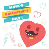 Funny Vector Happy Valentine's Day Illustration — Stock Vector