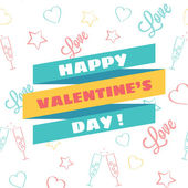 Vector Happy Valentine's Day Illustration with Cool Doodle Background — Vecteur