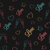 Vector Seamless Pattern for Valentine's Day Holidays or Wedding Dark Version — Stock vektor