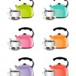 Cup Of Coffee And Kettle Set — Stock Vector