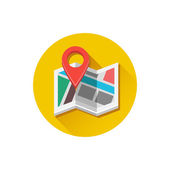 Vector Map and Map Label Icon — Stock Vector