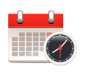 Vector Black Clock and Calendar. Business Icon — Stockvektor