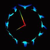 Clock with birds — Stock Photo