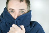 Man Bundled Up In Housecoat — Stock Photo