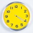 Yellow and Silver Wall Clock — Stok fotoğraf