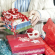 Smiling Man Wrapping Presents — Photo