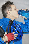 Cyclist Takes A Drink — Stock Photo
