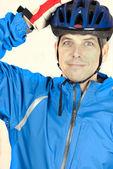 Cyclist Puts On Helmet — Stock Photo