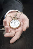Businessman Displying Pocketwatch — Stok fotoğraf