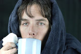 Sick Man With Tissue Drinking From Mug — Stock Photo