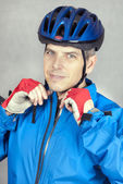 Cyclist Puts On his Helmet 2 — Stock Photo