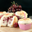 Strawberry Cherry Muffin With A Candle, Horizontal — Stock Photo