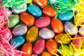 Colorful Easter Eggs And Grasses — Stock Photo