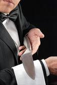 Fine Dining Waiter Presenting Knife — Stock Photo