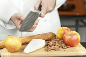 Chef Tests Knife Sharpness — Stock Photo