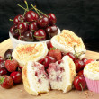 Halved Strawberry Cherry Muffin Surrounded By Fruit And Muffins — Stock Photo