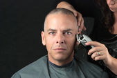 Mourning Man Gets Head Shaved For Fundraiser, Looks To Camera — Stock Photo